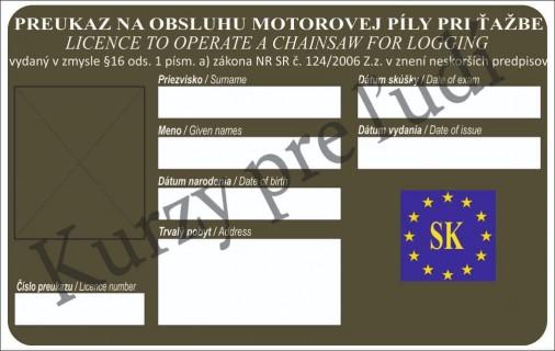 Preukaz na obsluhu motorovej píly pri ťažbe dreva